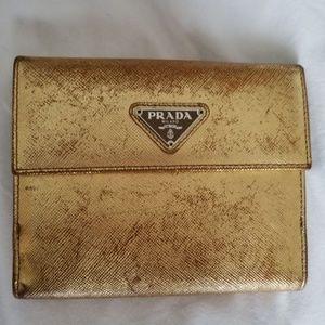Gold Prada Wallet